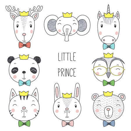 Set of hand drawn cute funny portraits of cat, bear, panda, bunny, reindeer, unicorn, owl, elephant boys in crowns. Isolated objects on white background. Vector illustration. Design concept for kids.
