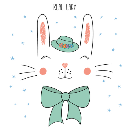 Hand drawn illustration of a cute funny rabbit face in a hat, with a bow. Illustration