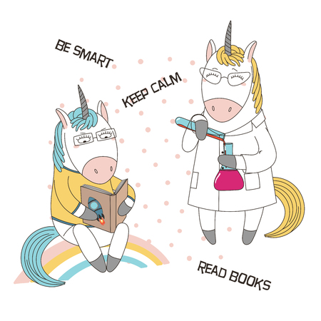Hand drawn vector illustration of a cute funny cartoon unicorns in glasses, reading a book, in a lab coat, with chemical reagents, text. Isolated objects. Design concept for children, geek culture. Иллюстрация