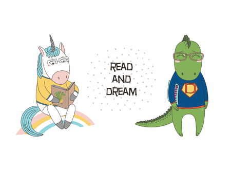 Hand drawn illustration of a cute funny cartoon unicorn reading a book, dragon in glasses and sweatshirt.
