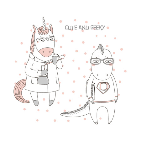 Hand drawn vector illustration of a cute funny unicorn in a lab coat, with chemical reagents, dragon in glasses, holding a comic book, text. Isolated objects. Design concept children, geek culture Illustration