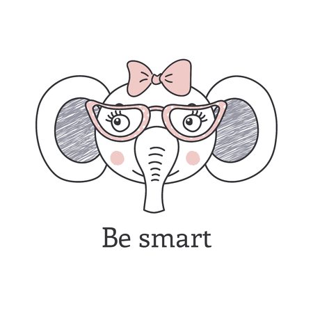 Hand drawn portrait of a cute elephant in glasses and with eye glasses.