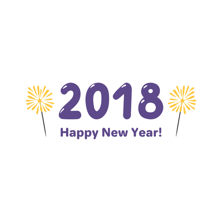 Hand drawn Happy New Year 2018 greeting card, banner template with numbers.