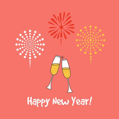 Bergeben Sie gezogene guten Rutsch ins Neue Jahr-Grußkarte, Fahnenschablone mit klirrenden Champagnergläsern. Standard-Bild - 91655397