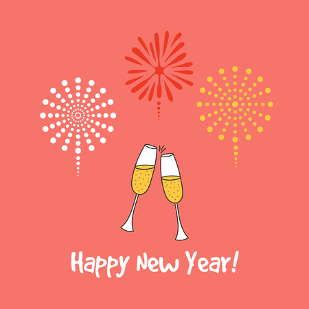 Hand drawn Happy New Year greeting card, banner template with clinking champagne glasses.