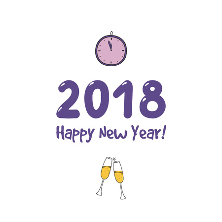 Hand drawn Happy New Year 2018 greeting card, banner template with numbers, clinking champagne glasses.