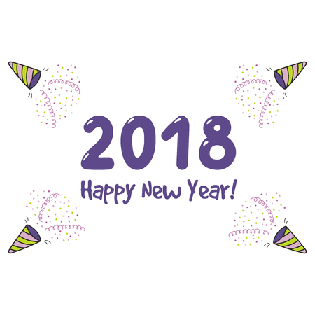 Hand drawn Happy New Year 2018 greeting card, banner template with numbers, party poppers, streamers, confetti, typography. Isolated objects. Vector illustration. Design concept for celebration. Stock Vector - 91671273