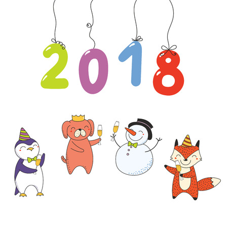 Hand drawn New Year 2018 greeting card, banner template with numbers hanging on strings, cute funny cartoon animals celebrating. Isolated objects. Vector illustration. Design concept for party.