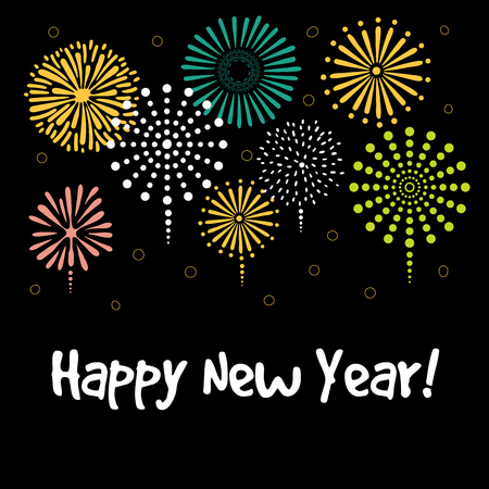 Hand drawn Happy New Year greeting card, banner template with typography, fireworks.