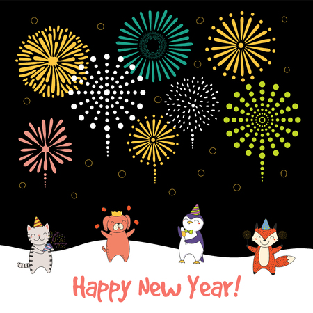 Hand drawn Happy New Year 2018 greeting card, banner template with cute funny cartoon animal.