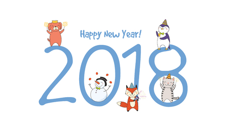 Hand drawn Happy New Year 2018 greeting card, banner template with big numbers. Illustration