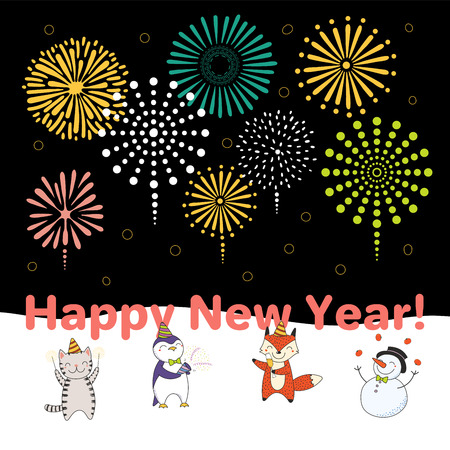 Hand drawn Happy New Year 2018 greeting card, banner template with cute funny cartoon animals celebrating, fireworks in the sky, text. Isolated objects. Vector illustration. Design concept for party.