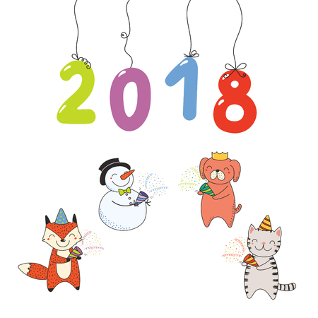 Hand drawn New Year 2018 greeting card, banner template with numbers hanging on strings, cute funny cartoon animal.
