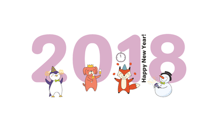Hand drawn Happy New Year 2018 greeting card, banner template with big numbers, cute funny cartoon animal.