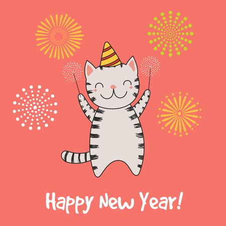 Hand drawn Happy New Year greeting card with cute funny cartoon. Stock Illustratie