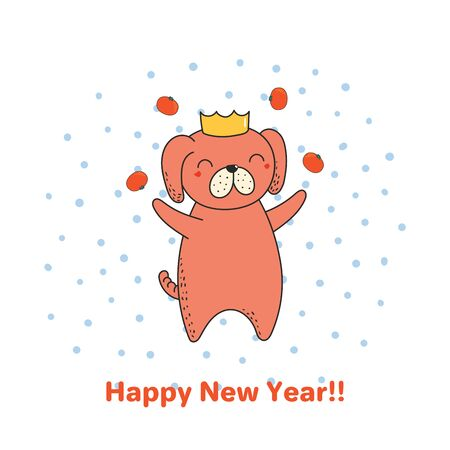 Hand drawn Happy New Year greeting card with cute funny cartoon dog juggling tangerines, typography.