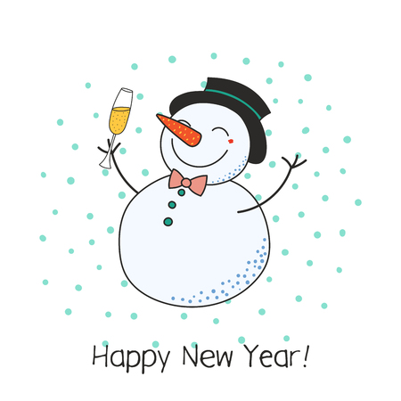 Hand drawn Happy New Year greeting card with cute funny cartoon snowman with a glass of champagne.