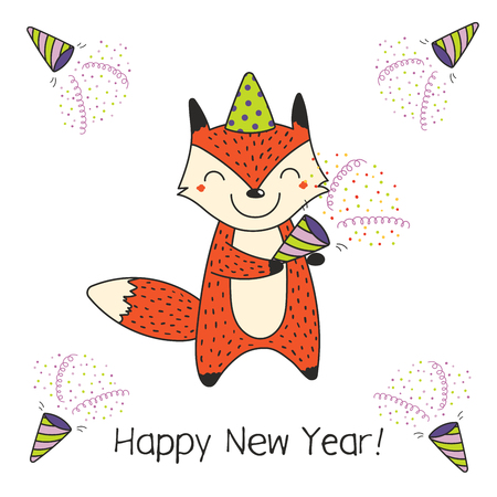 Hand drawn Happy New Year greeting card with cute funny cartoon fox with a party popper, typography. Isolated objects on white background. Vector illustration. Design concept for celebration. Illustration