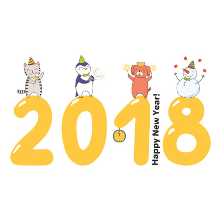 Hand drawn Happy New Year 2018 greeting card, banner template with cute funny cartoon animals celebratingstanding on big numbers, text. Isolated objects. Vector illustration. Design concept for party. Stock Vector - 91623239