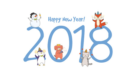 Hand drawn Happy New Year 2018 greeting card, banner template with big numbers, cute funny cartoon animals celebrating, typography. Isolated objects. Vector illustration. Design concept for party. Stock Vector - 91623232