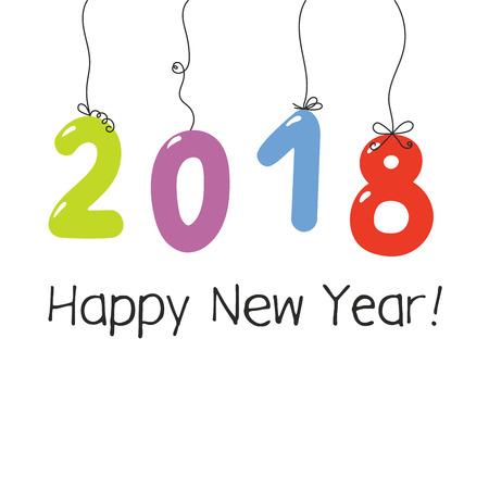 Hand drawn New Year 2018 greeting card.