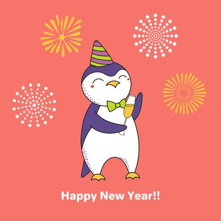 Hand gezeichnetes guten Rutsch ins Neue Jahr-Grußkarte mit nettem lustigem Karikaturpinguin und einem Glas Champagner. Design-Konzept für Party, Feier. Standard-Bild - 91665712