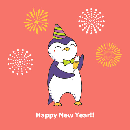 Hand drawn Happy New Year greeting card with cute funny cartoon penguin and a glass of champagne. Design concept for party, celebration.