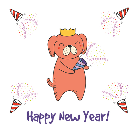 Hand drawn Happy New Year greeting card with cute funny cartoon dog with a party popper, typography. Isolated objects on white background. Vector illustration. Design concept for celebration.