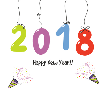 Hand drawn Happy New Year 2018 greeting card, banner template with numbers hanging on strings, party poppers. Isolated objects on white background. Vector illustration. Design concept for celebration.