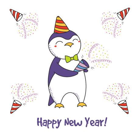 Hand drawn Happy New Year greeting card with cute funny cartoon penguin with a party popper, typography. Isolated objects on white background. Vector illustration. Design concept for celebration.