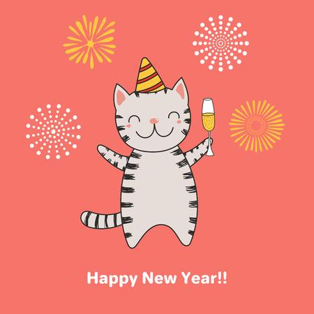 Bergeben Sie gezogene guten Rutsch ins Neue Jahr-Grußkarte mit netter lustiger Karikaturkatze mit einem Glas Champagner, Feuerwerke, Typografie. Isolierte Objekte. Vektor-illustration Design-Konzept für Party, Feier. Standard-Bild - 91629420