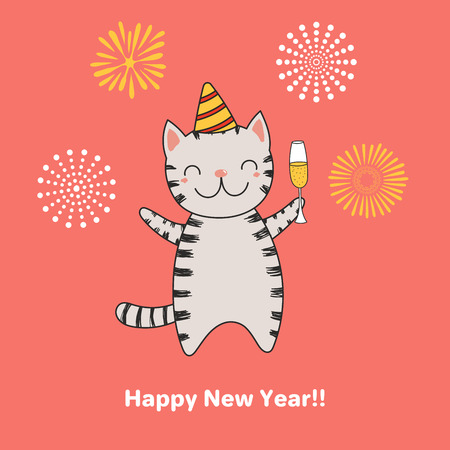 Hand drawn Happy New Year greeting card with cute funny cartoon cat with a glass of champagne, fireworks, typography. Isolated objects. Vector illustration. Design concept for party, celebration.