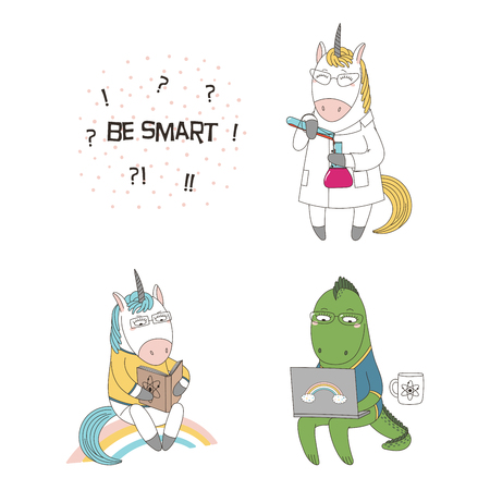 Hand drawn vector illustration of a cute funny cartoon unicorns, with a book, in a lab coat, dragon in glasses, holding a laptop, text. Isolated objects. Design concept children, geek culture Ilustração