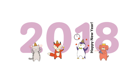 Hand drawn Happy New Year 2018 greeting card, banner template with big numbers, cute funny cartoon animals celebrating, typography. Isolated objects. Vector illustration. Design concept for party. Stock Vector - 91675685
