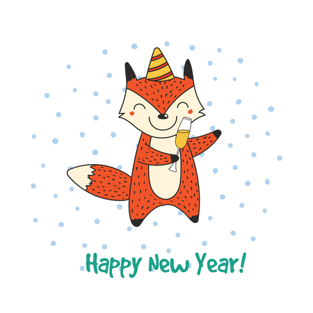 Hand drawn New Year greeting card with cute funny cartoon fox. 向量圖像