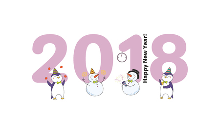 Hand drawn Happy New Year 2018 greeting card, banner template with big numbers, cute funny cartoon penguins, snowmen celebrating, text. Isolated objects. Vector illustration. Design concept for party.