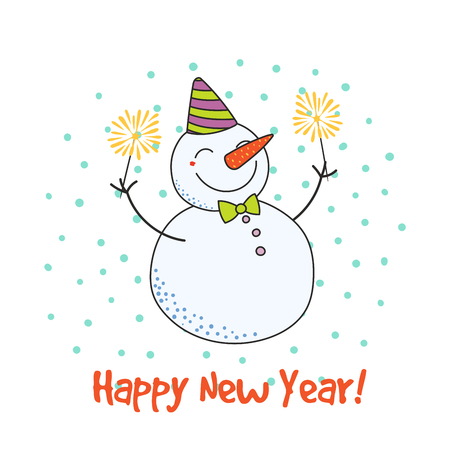 Hand drawn Happy New Year greeting card with cute funny cartoon snowman with sparklers, typography. Isolated objects on on white background. Vector illustration. Design concept party, celebration