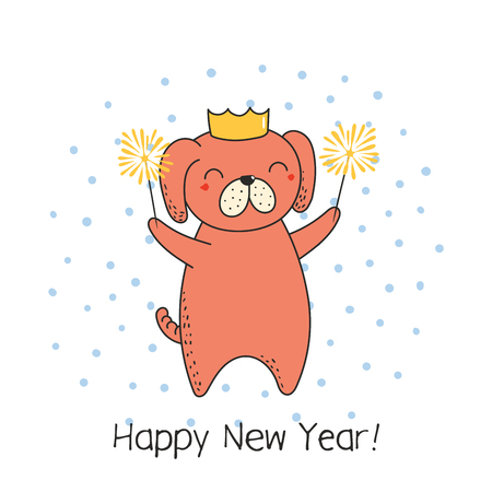 Hand drawn Happy New Year greeting card with cute funny cartoon dog with sparklers, typography. Isolated objects on on white background. Vector illustration. Design concept party, celebration Illustration