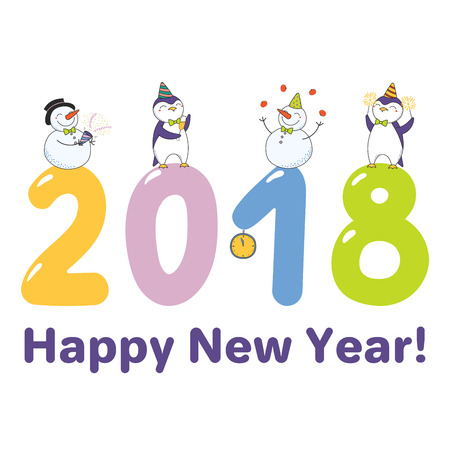 Hand drawn Happy New Year 2018 greeting card, banner template with cute funny cartoon penguins, snowmen standing on big numbers, text. Isolated objects. Vector illustration. Design concept for party Standard-Bild - 91677439