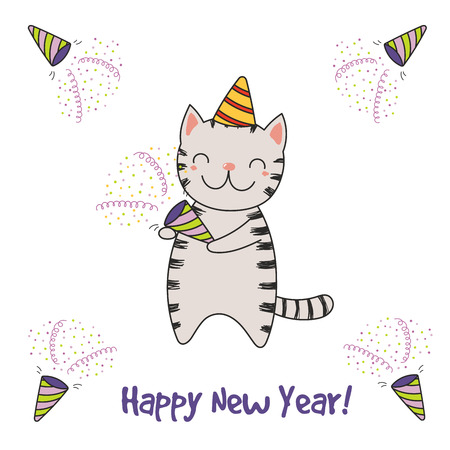 Hand drawn Happy New Year greeting card with cute funny cartoon cat with a party popper, typography. Isolated objects on white background. Vector illustration. Design concept for celebration. Ilustração