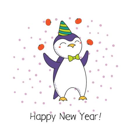 Cartolina d'auguri disegnata a mano del buon anno con i mandarini di manipolazione del pinguino del fumetto divertente sveglio, tipografia. Oggetti isolati su sfondo bianco. Illustrazione vettoriale Design concept party, celebrazione. Archivio Fotografico - 91677438