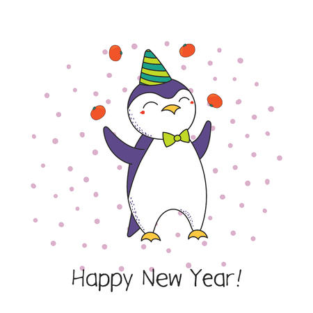 Hand drawn Happy New Year greeting card with cute funny cartoon penguin juggling tangerines, typography. Isolated objects on white background. Vector illustration. Design concept party, celebration.