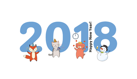 Hand drawn Happy New Year 2018 greeting card, banner template with big numbers, cute funny cartoon animals celebrating, typography. Isolated objects. Vector illustration. Design concept for party. Illustration
