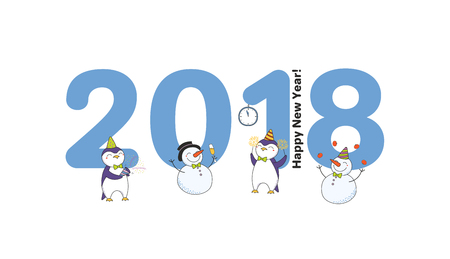 Hand drawn Happy New Year 2018 greeting card, banner template with big numbers, cute funny cartoon penguins, snowmen celebrating, text. Isolated objects. Vector illustration. Design concept for party. Stock Vector - 91805876