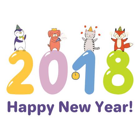 Bergeben Sie gezogene Grußkarte des guten Rutsch ins Neue Jahr 2018, Fahnenschablone mit den netten lustigen Karikaturtieren, die auf großen Zahlen, Text celebratingstanding sind. Isolierte Objekte. Vektor-illustration Design-Konzept für Party. Standard-Bild - 91805877