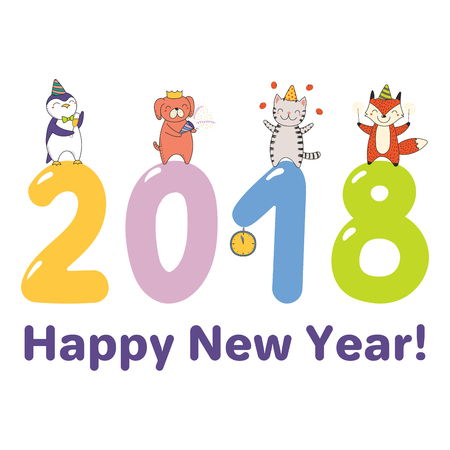 Hand drawn Happy New Year 2018 greeting card, banner template with cute funny cartoon animals celebratingstanding on big numbers, text. Isolated objects. Vector illustration. Design concept for party.
