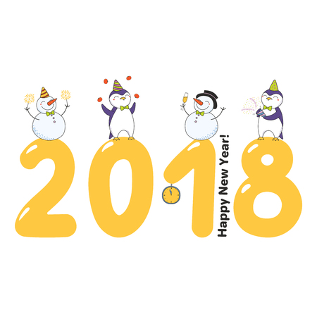 Hand drawn Happy New Year 2018 greeting card, banner template with cute funny cartoon penguins, snowmen standing on big numbers, text. Isolated objects. Vector illustration. Design concept for party