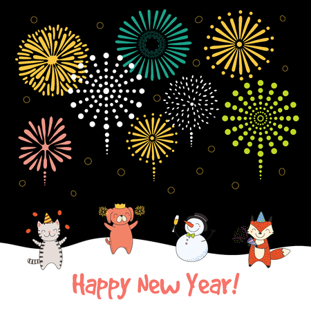 Hand drawn Happy New Year 2018 greeting card banner template with cute funny cartoon animal.