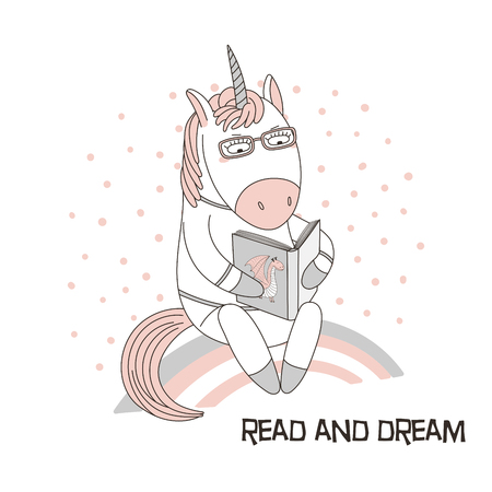 Hand drawn illustration of a cute funny cartoon unicorn sitting on a rainbow, reading a book. 向量圖像