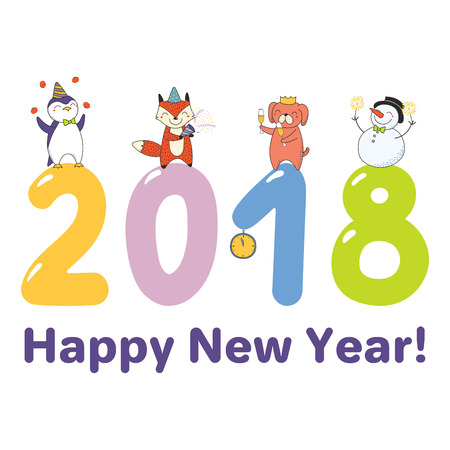Hand drawn Happy New Year 2018 greeting card, banner template with cute funny cartoon animals celebratingstanding on big numbers, text. Isolated objects. Vector illustration. Design concept for party. Standard-Bild - 92027233